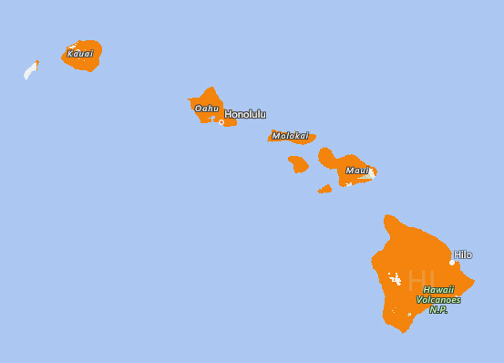Map of AT&T Hawaii 4G-LTE Coverage