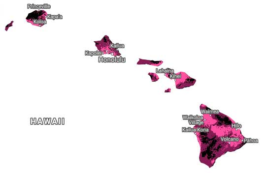 Map of T-Mobile Hawaii 4G-LTE Coverage
