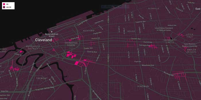 T-Mobile 5G mm Coverage Cleveland
