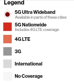 Map of Verizon Wireless 5G Coverage